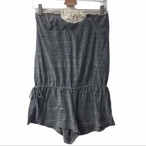 Lucky brand sleeveless romper gray with crocheting